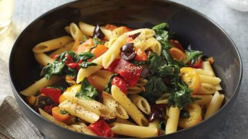 penne with blistered tomatoes and olive