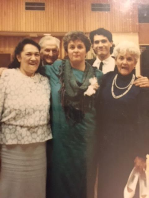 At Carol's wedding. From left to right: Marara White,, Vern White, Nancy Mabee, Nick White, Clara Lee White