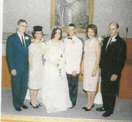 Nancy and Ralph Mabee wedding. Clara Lee and Vern White on the left